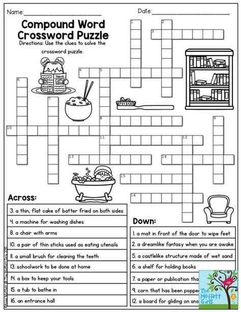 printable compound word games for second grade free printable crossword puzzles for second graders 2nd