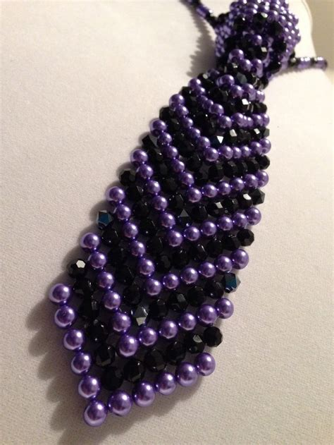 how to tie a beaded necklace by special request purple and black beaded necktie