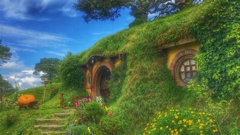 wallpaper hobbiton  set forest house fabulous