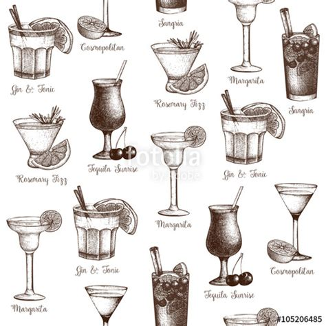 vintage cocktail vector quot vector seamless pattern with vintage alcoholic cocktails