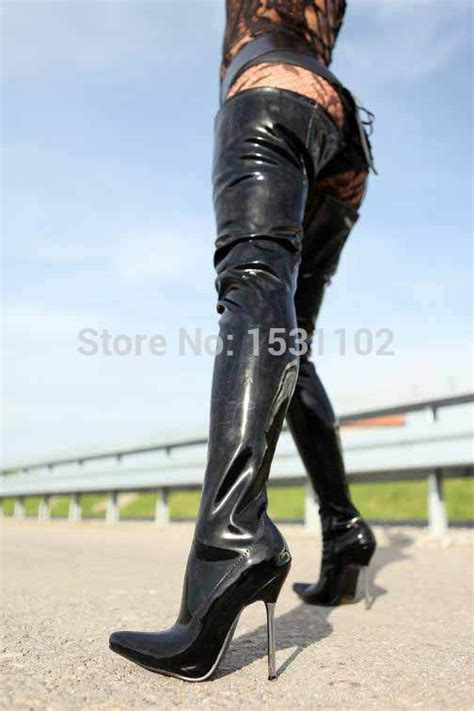 female biker boots with heels 2015 thigh high boot fashion black patent leather