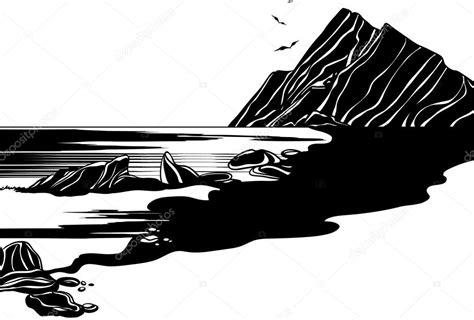 clipart bianco e nero disegno in bianco e nero mare rocce e uccelli