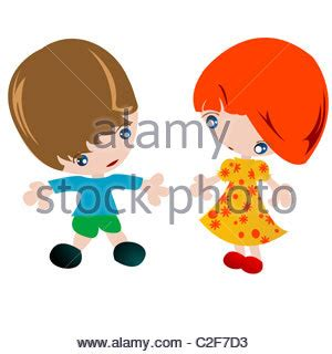 cartoon boy and girl children, playing in a sand pit or on