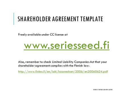 Startup Shareholder Agreement In Finland Do S And Don Ts Nordic Fo Equity Stake Agreement Template