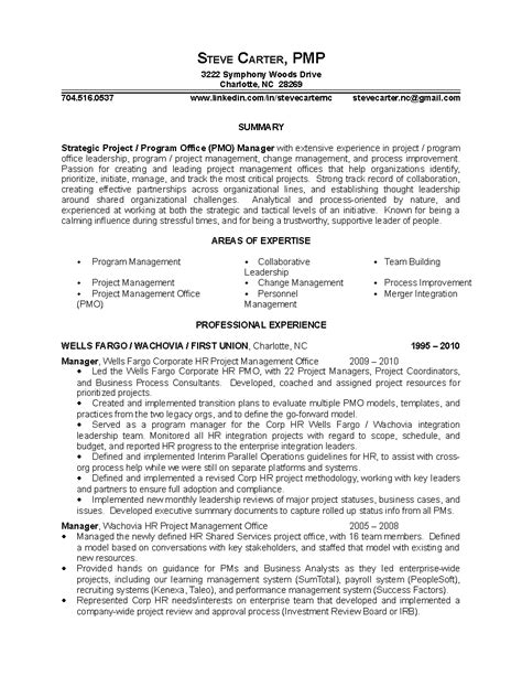 project manager resume exles project management resume sle sle resumes