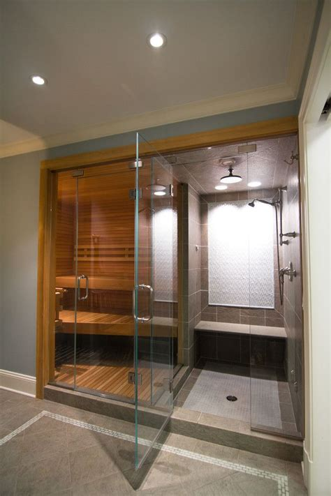 bathroom sauna sauna shower combo with rain showerhead decoration ideas