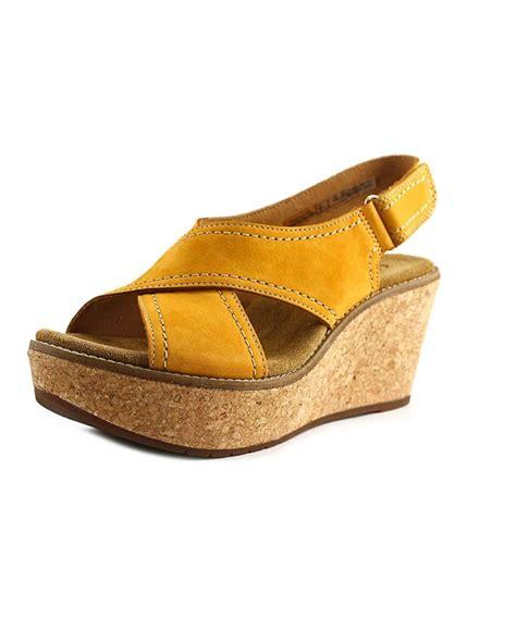 Sandal Fashion Tulip Fse058 Clarks Aisley Tulip Open Toe Leather Wedge Sandal In Yellow Lyst