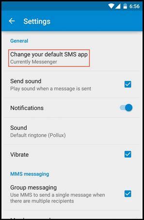 change default sms app on android lollipop 5.0 phones