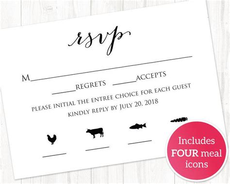Dinner Response Card Template by Rsvp Card With Meal Icons Templates Four Meal
