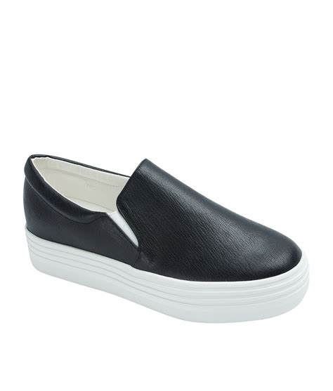 Platform Faux Leather Shoes classic faux leather platform slip on sneakers