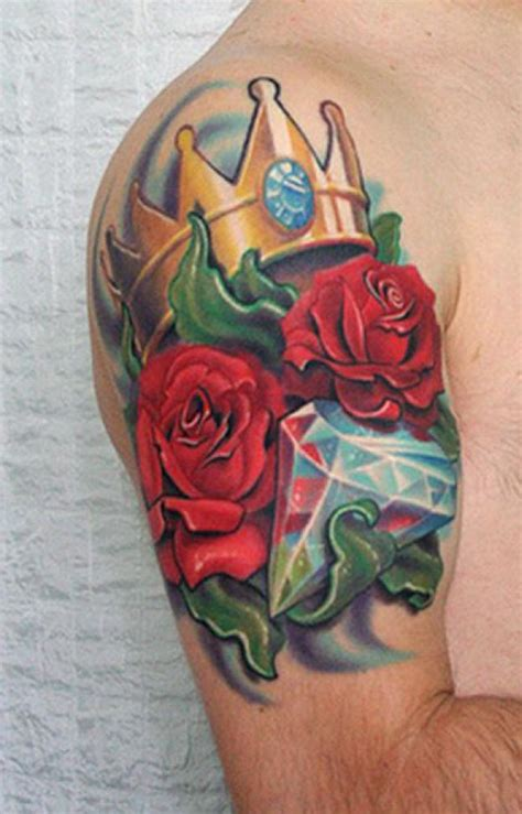 rose and crown tattoo designs crown and on shoulder