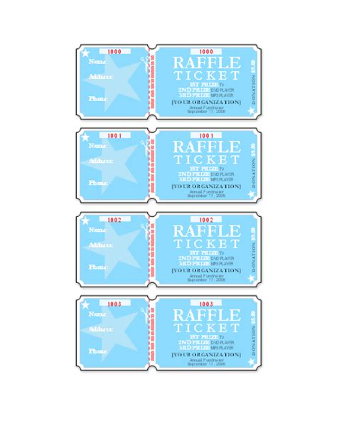 free raffle ticket template for publisher templates certificates raffle tickets 4 per page tickets