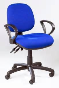 Office Chair With Arms And Wheels Blue Fabric Home Office Desk Computer Operator Pc Swivel