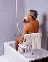 Elderly Shower by The Sunset Showering An Elderly Person A Step