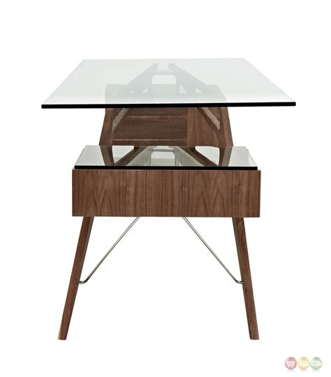 modern glass top desk koen mid century modern walnut wood writing desk with