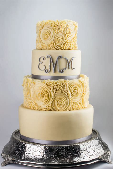 Ivory Wedding by Monogrammed Ivory Wedding Cake Cakecentral