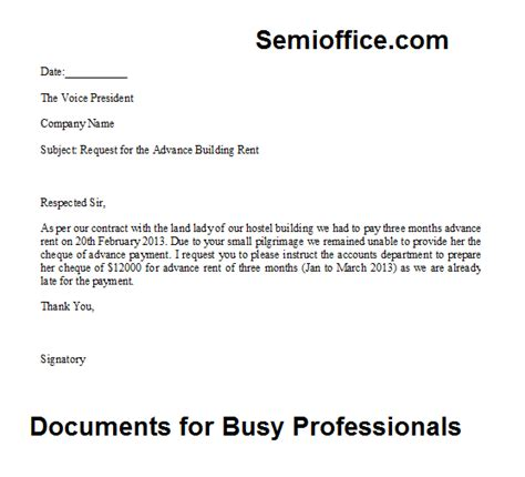 Employee Advance Payment Request Letter request letter for the advance payment