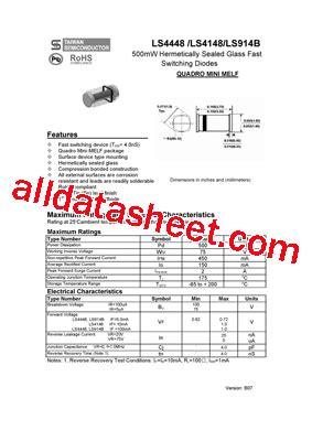 ls 4148 diode ls4148 データシート pdf taiwan semiconductor company ltd