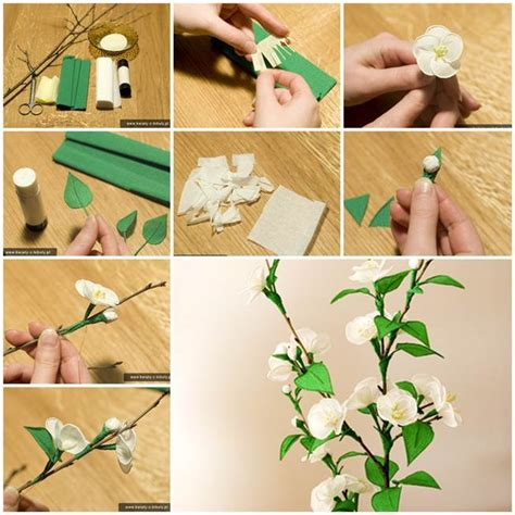 How To Make Crepe Paper Decorations - diy delicate crepe paper cherry blossom sprig