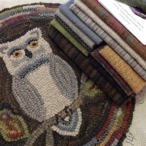 wool hook rug kits rug hooking kit woodland owl chair pad or table mat 14 j898 primitive rug hooking kit