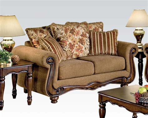 acme furniture loveseat in brown floral olysseus fabric