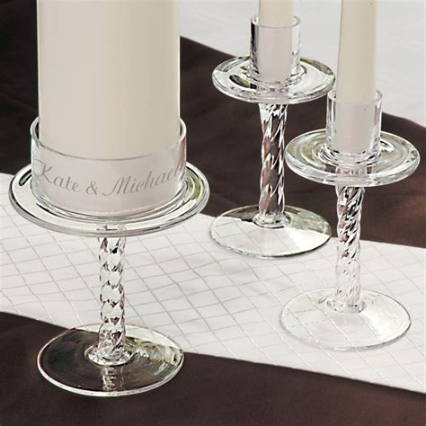 Glass Candle Pedestal Personalized Glass Pedestal Unity Candle Stands