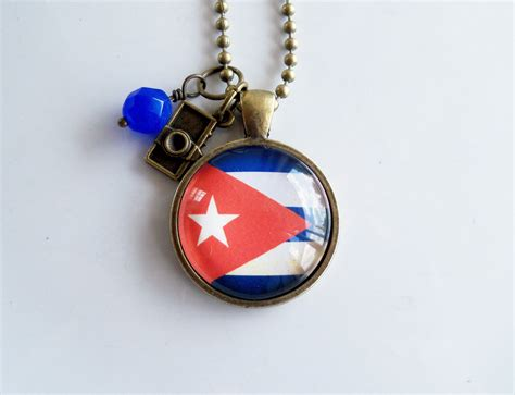 flag of cuba necklace cuban flag jewelry country flag