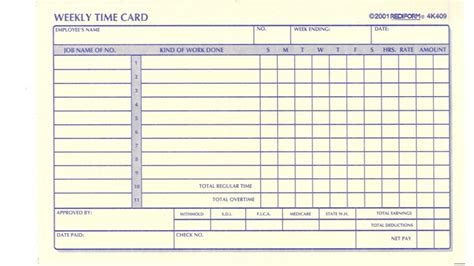 monthly time card template time card template template business