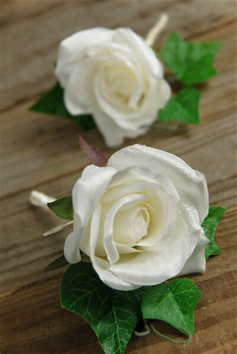 Garden Party Formal - silk rose boutonnieres white set of 2