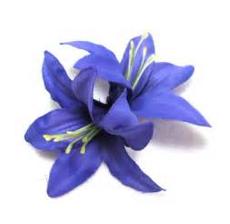 new double purple lily hair flower clip