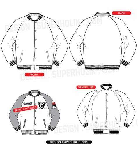 jacket design layout raglan varsity jacket template set hellovector
