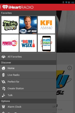 iheartradio app android free iheartradio radio for android available for with new side navigation menu