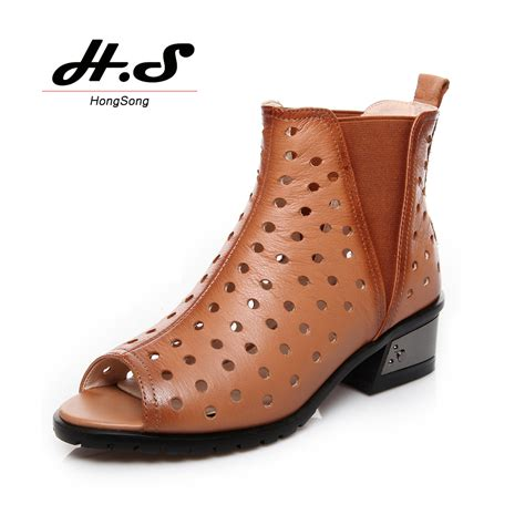 summer boots genuine leather air elastic fabric summer boots