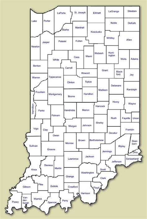 county map of indiana county map for indiana indiana map