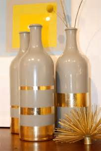 Vase Centerpiece Ideas Home Decor Diy Gold Leaf Bottles Blissfully Domestic