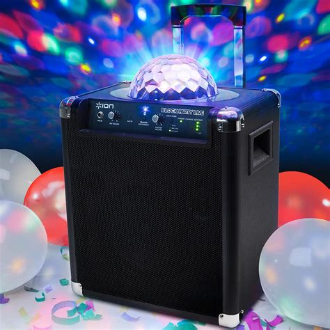 bluetooth speaker with lights amazon amazon com ion audio block party live 50 watt portable