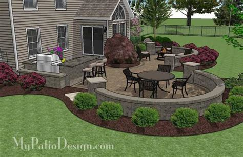 Large Patio Designs Large Paver Patio Design With Grill Station Seat Walls