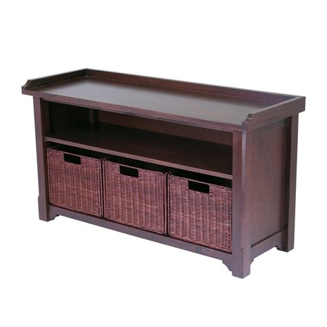 Indoor Storage Bench Shop Winsome Wood Antique Walnut Indoor Entryway Bench With Storage At Lowes