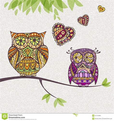 decorative owls decorative owl couple and love stock vector image 41110483
