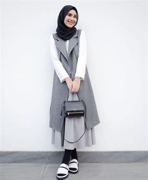 desain dress polos tilan casual wanita berhijab masa kini busana muslim