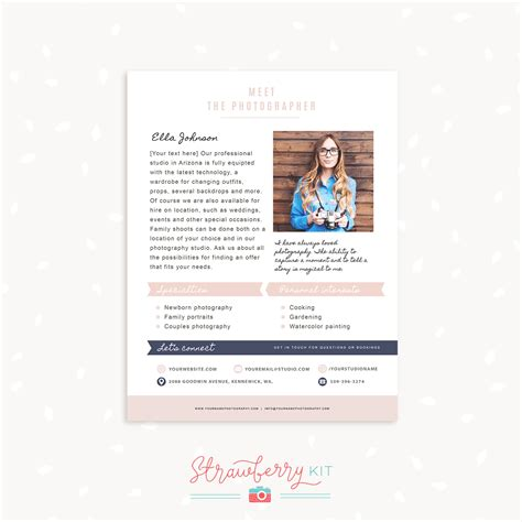 Photography About Me Page Template Strawberry Kit About Me Page Template