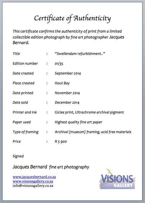 certificate of authenticity photography template certificate of authenticity visions gallery hout bay