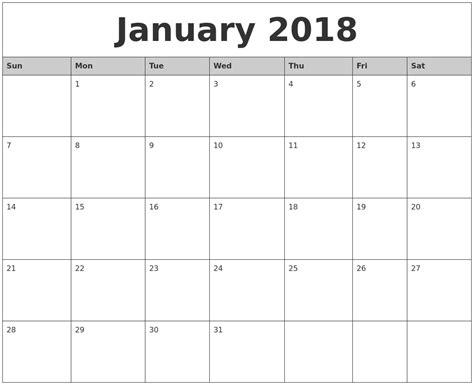 free printable january 2018 vertical calendar maxcalendars