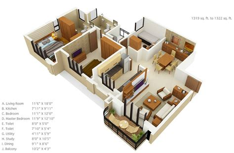 home design plans for 1500 sq ft 3d 50 three 3 bedroom apartment house plans architecture
