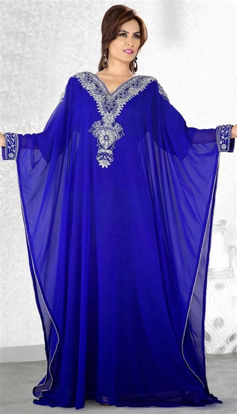 Dh 6592 Kaftan Blue fashion royal blue muslim abaya sleeves v neck arabic evening dresses dubai kaftan