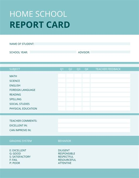 free home school report card template in microsoft word