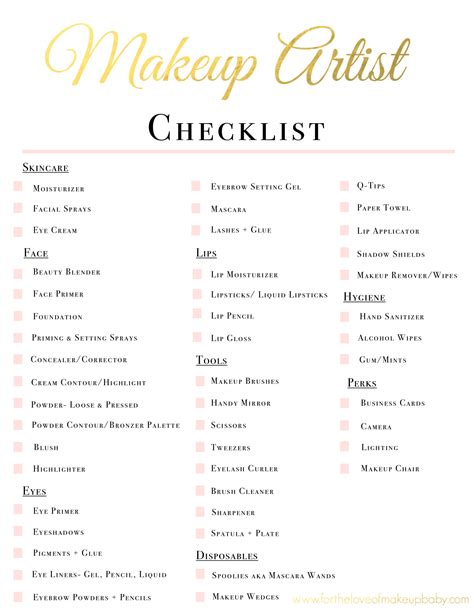 makeup themes names makeup artist kit checklist www fortheloveofmakeupbaby