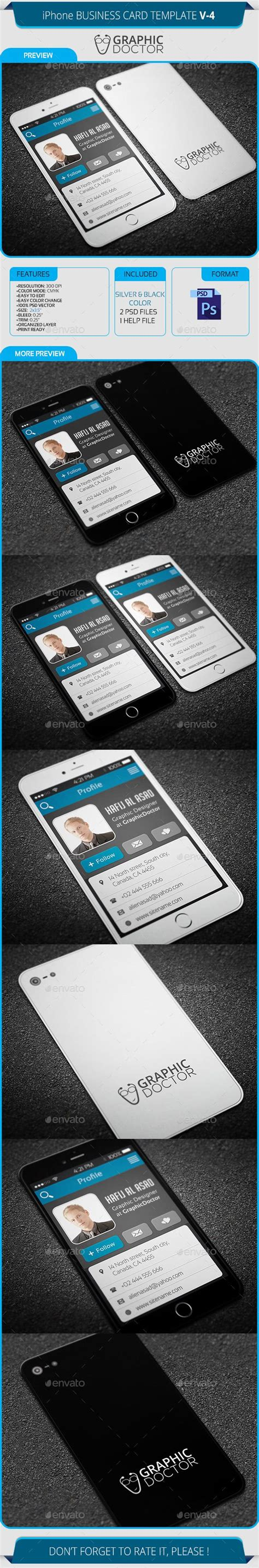 iphone business card template iphone business card template v 4 card templates
