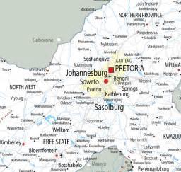 Johannesburg South Africa Map by Map Of Gauteng