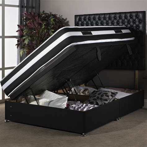 Black Ottoman Bed New Black Side Gas Lift Ottoman Divan Bed 4ft 6 Quot New Delivery Ebay